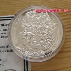 Ruanda Kafferbivaly 2015 1 uncia proof ezüst pénzérme