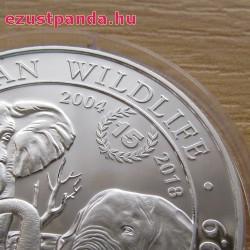 """Szomália Elefánt 2018 1 uncia ezüst pénzérme """"15 éves jubileum"""""""