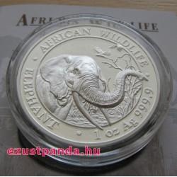 Szomália Elefánt 2018 1 uncia high-relief proof ezüst pénzérme