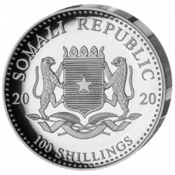 Szomália Elefánt 2020 1 uncia high-relief proof ezüst pénzérme