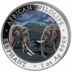 """Szomália Elefánt 2020 """"Nappal és Éjszaka"""" 2x1 uncia színes ezüst érmeszett"""