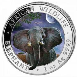 """Szomália Elefánt 2021 """"Nappal és Éjszaka"""" 2x1 uncia színes ezüst érmeszett"""