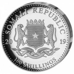 Szomália Elefánt 2019 1 uncia high-relief proof ezüst pénzérme