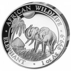 Szomália Elefánt 2017 1 uncia high-relief proof ezüst pénzérme