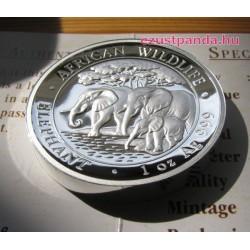 Szomália Elefánt 2013 1 uncia high-relief proof ezüst pénzérme