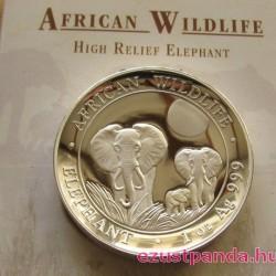 Szomália Elefánt 2014 1 uncia high-relief proof ezüst pénzérme
