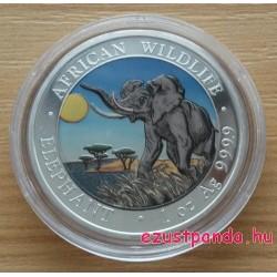 Szomália Elefánt 2016 1 uncia színes ezüst pénzérme