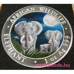 Szomália Elefánt 2014 1 uncia színes ezüst pénzérme