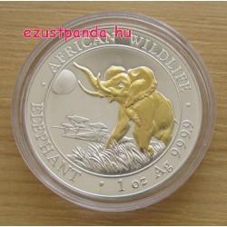 Szomália Elefánt 2016 1 uncia aranyozott ezüst pénzérme