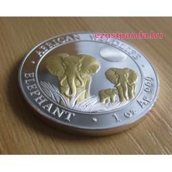 Szomália Elefánt 2014 1 uncia aranyozott ezüst pénzérme