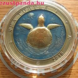 Tengeri teknős 2018 3 uncia ezüst pénzérme Barbados
