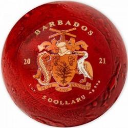 Mars 2021 1 uncia gömbölyű, színes ezüst pénzérme Barbados