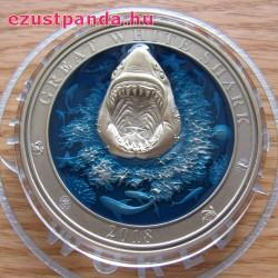 Nagy fehér cápa 2018 3 uncia ezüst pénzérme Barbados