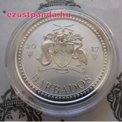 Háromágú szigony Trident 2017 1 uncia ezüst pénzérme Barbados
