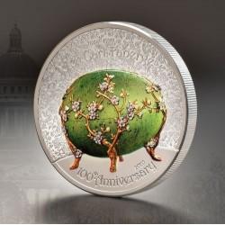 Fabergé tojás 2020 Liechtenstein 2 uncia ezüst pénzérme mongol névértékkel