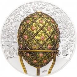 """Fabergé tojás """"Rózsalugas"""" 2021 Liechtenstein 2 uncia ezüst pénzérme mongol névértékkel"""
