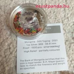 Sündisznó Mongólia 2021 színes proof ezüst pénzérme - CSAK 1500 PÉLDÁNY!