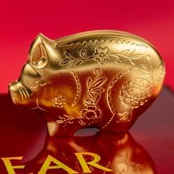 Disznó éve 2019 mongol aranyozott ezüst pénzérme - 888 példány