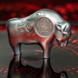 Bivaly éve 2021 1 uncia antikolt ezüst pénzérme - 999 példány