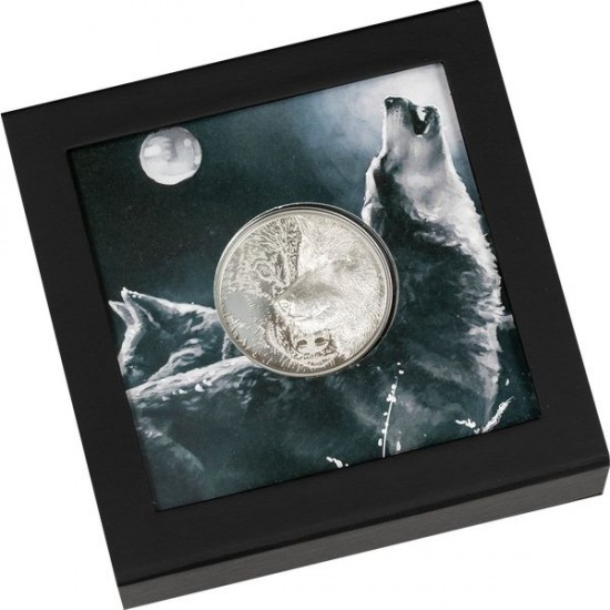 Misztikus farkas 2021 1 uncia liechtensteini ezüst pénzérme ultra-high-relief