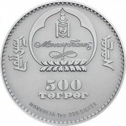 Kerecsensólyom mongol ezüst pénzérme kristályokkal