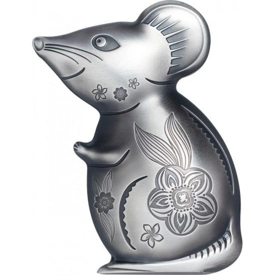 Egér éve 2020 mongol antikolt ezüst pénzérme - 999 példány