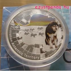 Antarktisz - Husky kutya 2010 1 uncia proof ezüst pénzérme