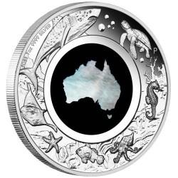 Ausztrália térkép gyöngyházból - 2021 1 uncia proof ezüst pénzérme
