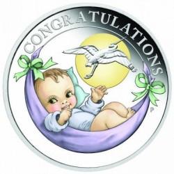 Újszülött baba 2021 1/2 uncia színes ezüst pénzérme