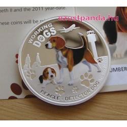 Beagle kutya 2011 1 uncia proof ezüst pénzérme