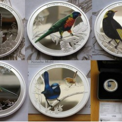 Ausztrália madarai 2013-14 TELJES SOROZAT 5db-os 1/2 uncia színes ezüst pénzérme