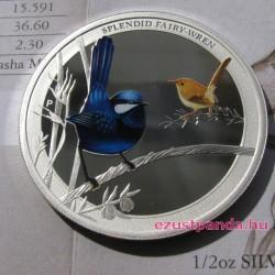 Ausztrália madarai - Tündérkék aranymadár 2013 1/2 uncia színes ezüst pénzérme
