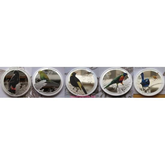 Ausztrália madarai - Szivárványlóri 2013 1/2 uncia színes ezüst pénzérme