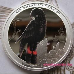 Ausztrália madarai - Pirosfarkú gyászkakadu 2013 1/2 uncia színes ezüst pénzérme
