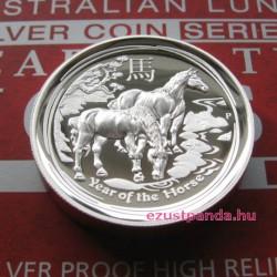 Lunar2 Ló éve 2014 1 uncia high relief ezüst pénzérme