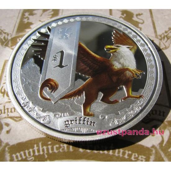 Mitológiai lények - Griff 2013 1 uncia színes ezüst pénzérme