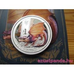 Mitológiai lények - Sárkány 2014 1 uncia színes ezüst pénzérme