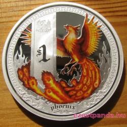Mitológiai lények - Főnix 2013 1 uncia színes ezüst pénzérme
