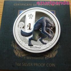 Mitológiai lények - Vérfarkas 2013 1 uncia színes ezüst pénzérme