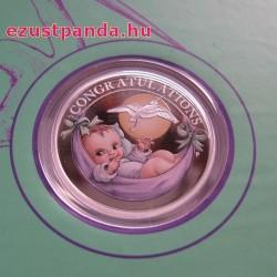 Újszülött baba 2018 1/2 uncia színes ezüst pénzérme