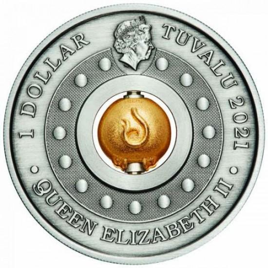 Bivaly éve - Tuvalu 2021 1 uncia antikolt ezüst pénzérme, forgó, aranyozott bivallyal