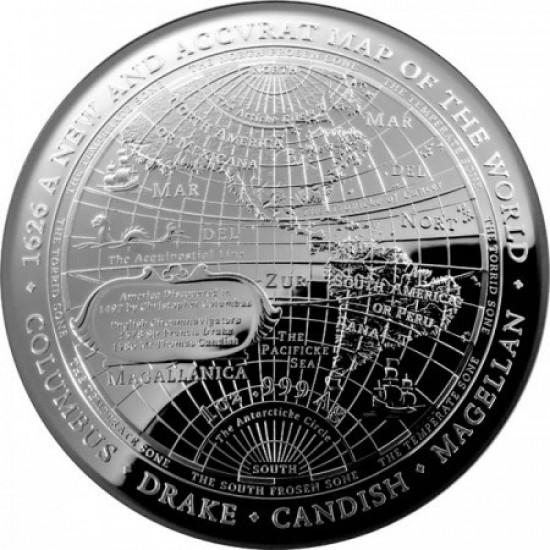 A világ új térképe 1626 ausztrál proof ezüst pénzérme - domború