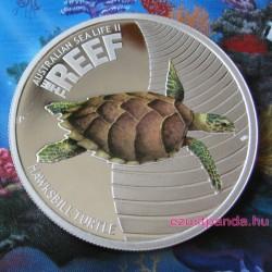 Korallzátony - Cserepesteknős 2011 1/2 uncia színes ezüst pénzérme