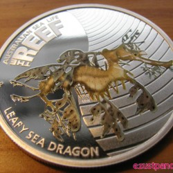 Korallzátony1 - Leveles tengeri sárkány 2010 1/2 uncia színes ezüst pénzérme