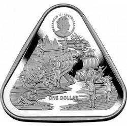 """Hajótörés """"Zeewijk 1727"""" 2021 1 uncia 1AUD ezüst pénzérme, háromszögletű"""