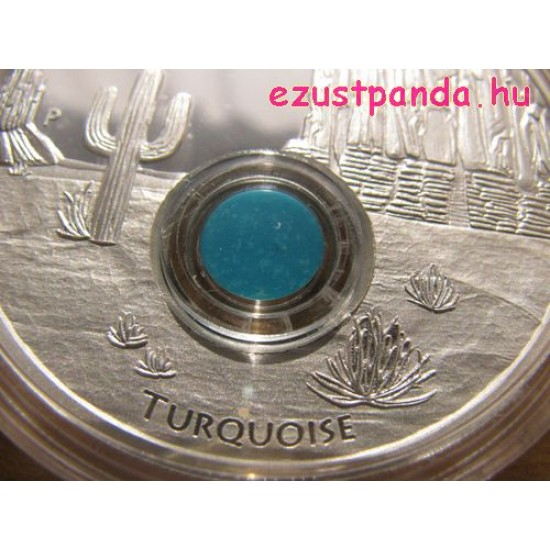 A világ kincsei - Türkiz 2015 1 uncia proof ezüst pénzérme türkizdarabokkal