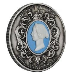 Viktória királynő 200. születésnapja - 2019 2 uncia antikolt ezüst pénzérme kámeával