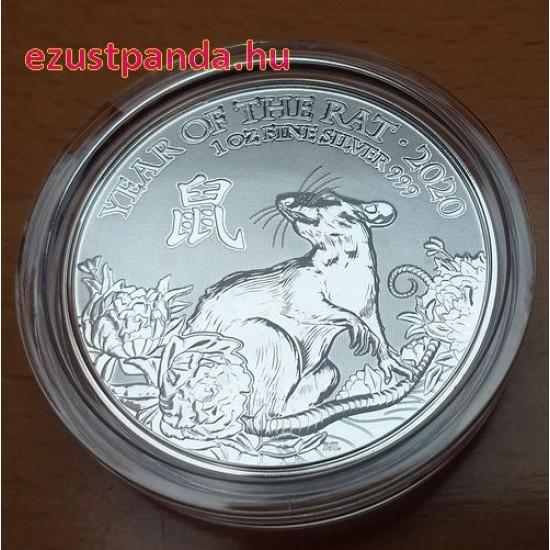 Patkány (Egér) éve 2020 brit 1 uncia ezüst pénzérme