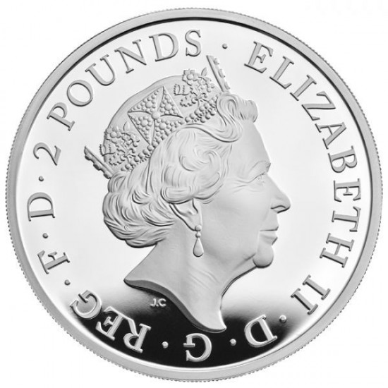A Királynő címerállatai 2021 2 GBP proof ezüst pénzérme