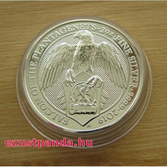 A királynő címerállatai - a Plantagenet-ek sólyma 2019 2 uncia 5 GBP ezüst pénzérme